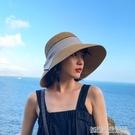 ins款草帽女夏天可折疊沙灘帽女度假遮陽帽蝴蝶結漁夫帽草帽盆帽