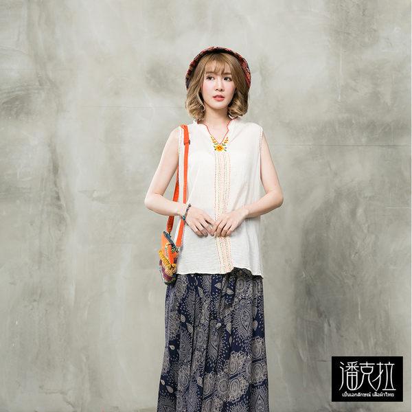 手工縫線花朵V領背心(白色)-F【潘克拉】