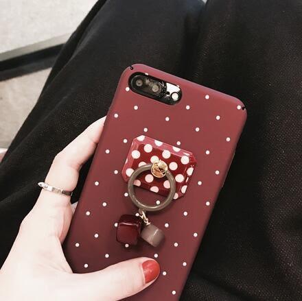 【SZ25】iPhone 7/8 plus手機殼 韓國波點酒紅色浪漫寶石吊墜iPhone7/8手機殼iPhone6s plus硬殼