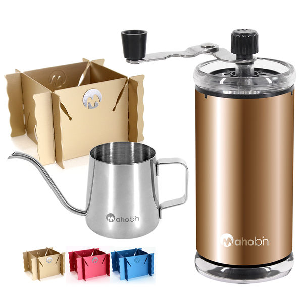 Mahobin魔法瓶 咖啡獨家組手搖咖啡研磨機+手沖壺細嘴壺+專利收納鋁合金濾泡耳掛式兩用咖啡架