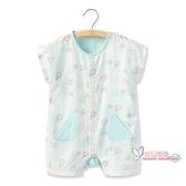 連身裝 兒童夏裝嬰童短袖連身衣男女寶寶連身衣服小童紗布哈衣爬服 2色