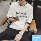 【Y047】shiny藍格子-經典色系.韓版簡約英文字母印花圓領短袖T恤