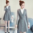 VK精品服飾 韓國風腰帶蕾絲拼接V領時尚長袖洋裝