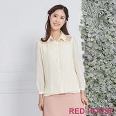 Red House 蕾赫斯-蕾絲透膚細褶上衣(共2色)