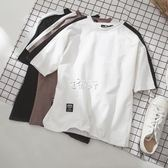 新款短袖t恤男士寬鬆ins情侶半袖韓版潮衣服五分袖打底衫 俏腳丫