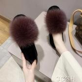 加絨豆豆鞋 毛毛鞋女冬外穿新款狐貍毛豆豆鞋加絨秋季百搭懶人孕婦棉鞋 快速出貨