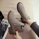 chic馬丁靴女英倫風小跟短靴及裸靴子女學生女靴春秋單靴 琉璃美衣