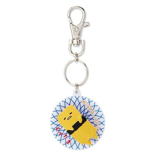 〔小禮堂〕蛋黃哥 立體壽司盤造型塑膠鑰匙圈《黃》掛飾.吊飾.鎖圈 4901610-13636