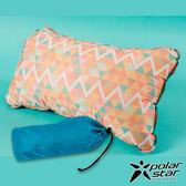 【PolarStar】花漾自動充氣枕『波浪三角』P17737 露營.戶外.充氣枕.頭靠枕.護頸.午睡.旅行.飛機