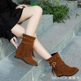 女短靴內增高流蘇靴學院風馬丁靴平底中跟靴扣帶水鑚靴子   莫妮卡小屋