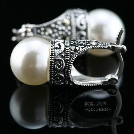 複古貝珠泰銀耳環