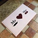 Mr&Mrs愛心圖案地墊(短) 門墊 腳墊 地毯 玄關 浴室 廚房 臥室 客廳 防滑 時尚【V003】米菈生活館