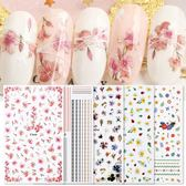 美甲貼紙 10款隨機美甲貼紙桃花櫻花指甲貼花日系薄3D指甲油膠帶背膠光療甲貼紙
