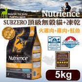 PetLand寵物樂園《Nutrience紐崔斯》SUBZERO頂級無穀貓糧+凍乾(火雞肉+雞肉+鮭魚)5kg/貓飼料