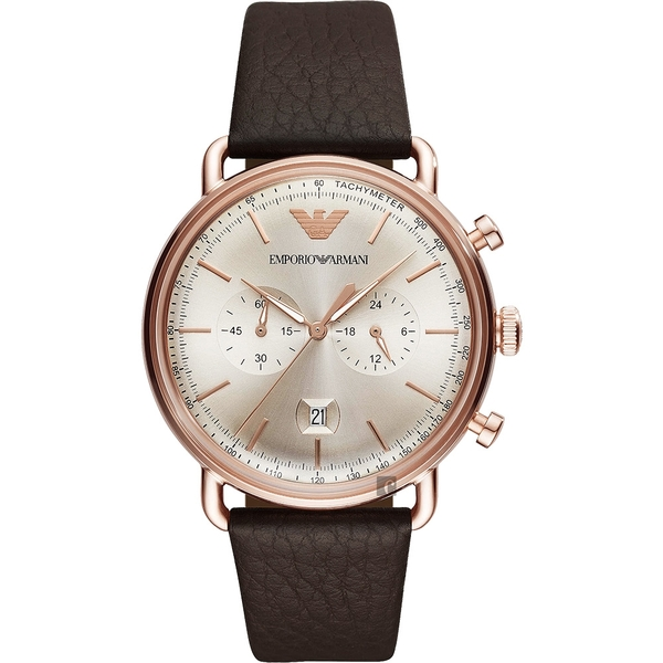 Emporio Armani Dress 亞曼尼計時手錶-金x咖啡/43mm AR11106