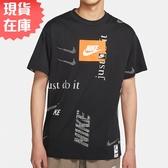 【現貨】Nike Sportswear 男裝 短袖 休閒 寬版 純棉 滿版 印花 黑【運動世界】CW0378-010