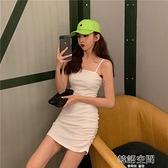 吊帶裙女夏季小個子辣妹包臀裙緊身性感法式初戀裙子白色洋裝潮連身裙