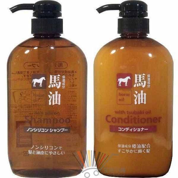 日本 KUM熊野油脂 馬油無矽靈洗髮精/潤髮乳600ml