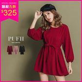 (現貨-藕粉)PUFII-洋裝 氣質泡袖雪紡連身裙短洋裝(附腰綁帶) 3色-1011 現+預 秋【ZP15317】