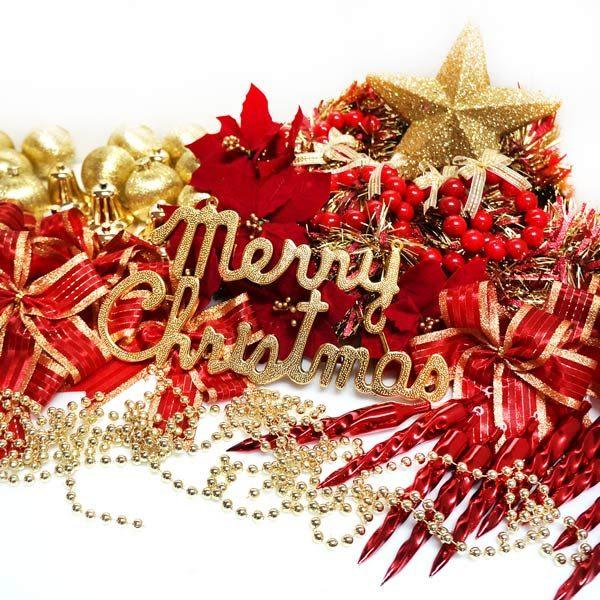 聖誕裝飾配件包組合~紅金色系 (4~5呎樹適用)(不含聖誕樹)(不含燈)