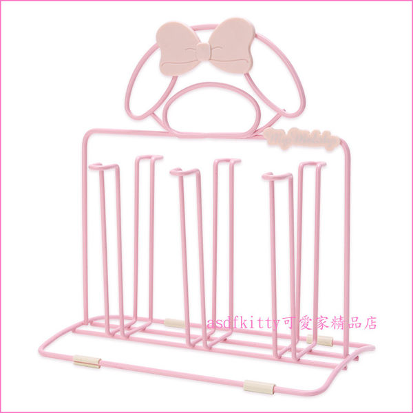 asdfkitty可愛家☆美樂蒂粉色杯架-內層是鋼質-可掛6個杯子-日本正版商品