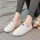 小白鞋子女2021年新款女鞋春夏款INS潮爆款百搭一腳蹬懶人帆布鞋