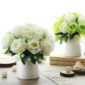 仿真盆栽 玫瑰束套裝花藝家居假花裝飾品盆栽擺件干花 BF7964【旅行者】