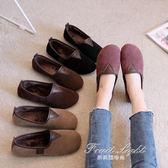 懶人鞋秋冬季簡約淺口休閒加絨平底鞋復古女鞋子尼姑鞋 果果輕時尚