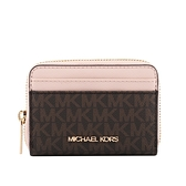 【MICHAEL KORS】金字滿版Logoㄇ型拉鏈零錢/卡包(粉色) 35H9GTVZ2B PWDBL