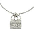 HERMES 愛馬仕 Constance Amulette系列真鑽鑲嵌手提包造型墜飾白金項鍊 【BRAND OFF】