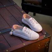 女童夏季真皮小白鞋休閒單鞋中大童透氣板鞋