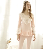 奢華復古蕾絲公主粉色套裝棉質舒適高貴家居服睡衣 -Nig101027