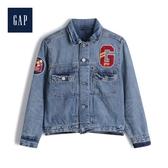 Gap男童創意徽標LOGO水洗牛仔衣524946-中度水洗