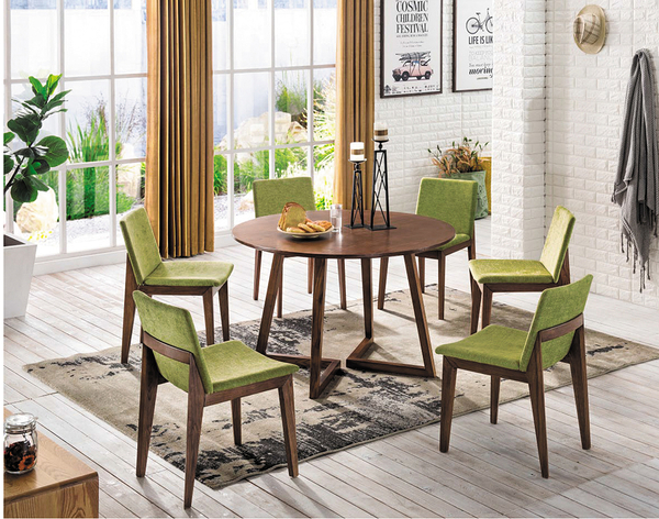 【IS空間美學】艾維卡V腳全實木圓桌組 一桌六椅
