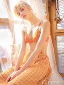 性感蕾絲無鋼圈內衣少女薄款法式三角杯大胸顯小文胸套裝美背胸罩