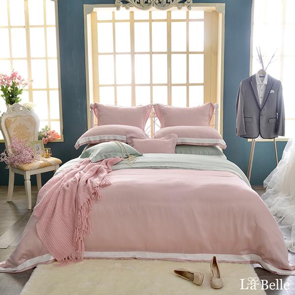 義大利La Belle《法式美學》特大天絲拼接防蹣抗菌吸濕排汗兩用被床包組-綠色