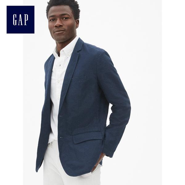 Gap男裝 休閒輕盈棉麻混紡西裝外套 461068-海軍藍色