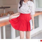 《CA1576》青春感純色百褶短褲裙 OrangeBear