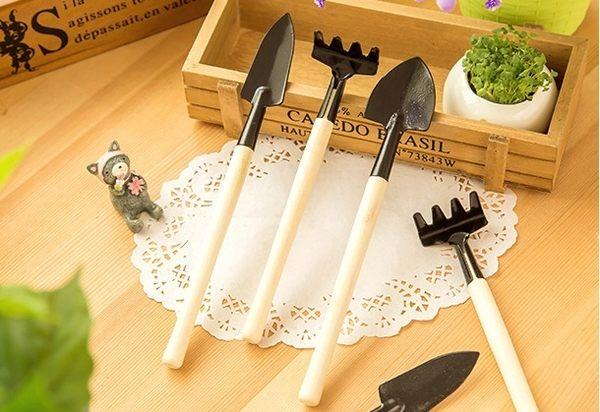『蕾漫家』-現貨-迷你多功能園藝工具3件組 鏟子耙子鐵鍬 花盆栽多肉植物栽種鬆土工具