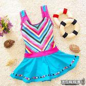 女童泳衣新款韓版兒童游泳衣公主裙式連體1-2-3歲學生5中大童