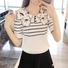 冰絲短袖女T恤2021夏裝新款娃娃領刺繡針織衫寬鬆顯瘦短款上衣潮 小宅妮