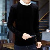 毛衣男 韓版男裝上衣修身純色圓領套頭長袖毛衣打底男士針織衫   傑克型男館