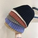 韓國ins針織秋冬網紅款漁夫帽子女日系純色保暖毛線套頭黑盆帽潮 貝芙莉
