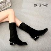 IN' SHOP及膝靴-微醺性感心機顯瘦2WAY可反摺絨布低跟膝上靴【KF00808】