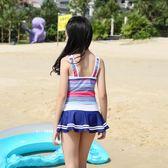兒童泳衣韓版兒童泳衣女孩連體中大童裙式游泳衣公主學生 貝芙莉女鞋