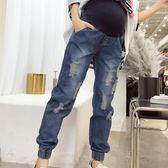 孕婦褲牛仔褲夏季時尚破洞薄款外穿大碼托腹褲長褲孕婦裝春裝褲子   mandyc衣間