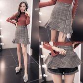 短裙 秋冬季荷葉邊高腰格子毛呢a字半身裙女魚尾裙包臀一步裙 迪澳安娜