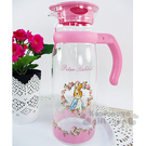〔小禮堂〕彼得兔 耐熱玻璃壺《透明.粉.玫瑰花圈.1215ml》4718995-21023
