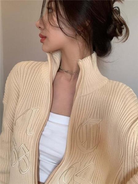 毛衣外套 拉鏈開衫外套女春加厚復古百搭韓版寬鬆外穿中長款針織上衣【快速出貨國慶八折】