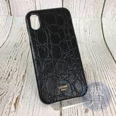 BRAND楓月 CELINE IPHONE X 黑色 鱷魚壓紋 手機殼 保護殼 配件